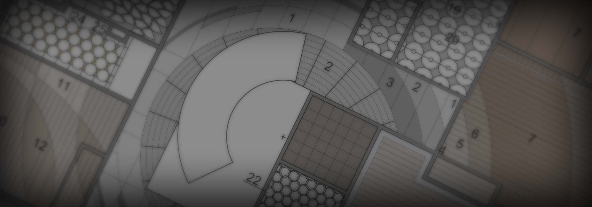 Image of architectural floor plan indicating flooring materials and paterns.